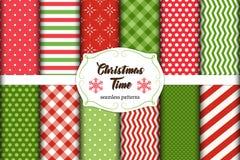 Grupo de 12 testes padrões sem emenda bonitos do tempo do Natal com ornamento tradicionais Imagens de Stock