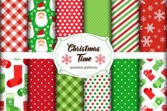 Grupo de 12 testes padrões sem emenda bonitos do tempo do Natal com ornamento tradicionais Imagens de Stock Royalty Free