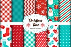Grupo de 12 testes padrões sem emenda bonitos do tempo do Natal com ornamento tradicionais Fotografia de Stock