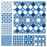 Grupo de testes padrões sem emenda - cerâmico azul ilustração stock