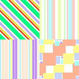 Grupo de testes padrões sem emenda coloridos com elementos geométricos Fotografia de Stock