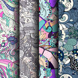 Grupo de testes padrões sem emenda coloridos do tracery Curvado rabiscando fundos para a matéria têxtil ou imprimindo com mehndi  Imagens de Stock Royalty Free