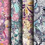 Grupo de testes padrões sem emenda coloridos do tracery Curvado rabiscando fundos para a matéria têxtil ou imprimindo com mehndi  Foto de Stock Royalty Free