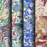 Grupo de testes padrões sem emenda coloridos do tracery Curvado rabiscando fundos para a matéria têxtil ou imprimindo com mehndi  fotos de stock