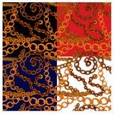 Grupo de testes padrões sem emenda com as correntes handdrawn do ouro Imagens de Stock Royalty Free