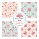 Grupo de testes padrões sem emenda com as rosas em fundos diferentes Fotografia de Stock Royalty Free