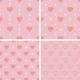 Grupo de testes padrões sem emenda com corações, ilustração Foto de Stock