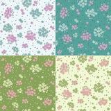 Grupo de testes padrões sem emenda com flores bonitos ilustração royalty free