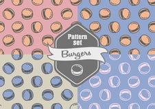 Grupo de testes padrões sem emenda com hamburgueres Imagens de Stock