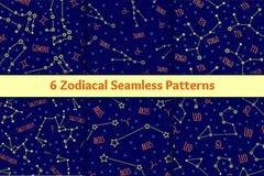 Grupo de testes padrões sem emenda com os sinais e as constelações do zodíaco da imagem ilustração royalty free