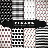 Grupo de testes padrões sem emenda com piratas Fotografia de Stock