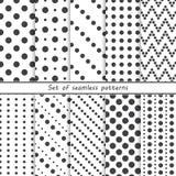 Grupo de testes padrões sem emenda com pontos, círculos ilustração stock
