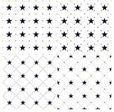 Grupo de 4 testes padrões sem emenda com pontos e estrelas Imagens de Stock Royalty Free