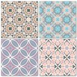 Grupo de 4 testes padrões sem emenda do mosaico decorativo ilustração stock