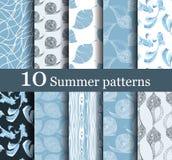 Grupo de 10 testes padrões sem emenda do verão Imagens de Stock Royalty Free