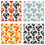 Grupo de testes padrões sem emenda do vetor com corações Fundos simétricos Projeto poligonal Imagens de Stock