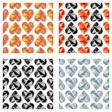 Grupo de testes padrões sem emenda do vetor com corações Fundos simétricos Projeto poligonal Fotografia de Stock Royalty Free