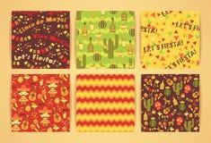 Grupo de testes padrões sem emenda do vetor com símbolos mexicanos tradicionais Imagem de Stock Royalty Free