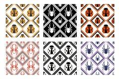 Grupo de testes padrões sem emenda do vetor, de fundos geométricos simétricos com aranha e de joaninha Fotografia de Stock Royalty Free