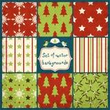 Grupo de testes padrões sem emenda do vetor do Natal bonito Imagem de Stock Royalty Free