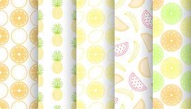Grupo de testes padrões sem emenda dos frutos tropicais Vetor Imagem de Stock Royalty Free