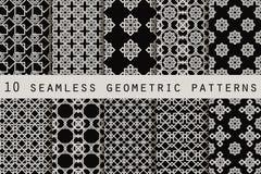Grupo de 10 testes padrões sem emenda monocromáticos teste padrão sem emenda geométrico Vetor Ilustração Stock