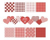 Grupo de testes padrões sem emenda para o dia do ` s do Valentim Imagens de Stock