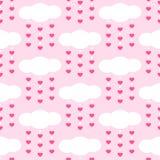 Grupo de testes padrões sem emenda primitivos retros bonitos com nuvens e corações Fotos de Stock