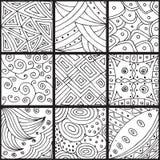 Grupo de testes padrões, zentangle Fotos de Stock Royalty Free
