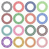 Grupo de testes padrões circulares no céltico que ata o estilo Fotografia de Stock Royalty Free