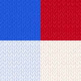 Grupo de testes padrões sem emenda feitos malha em 4 cores Tela feita malha de lã morna para o inverno Fundo sem emenda desenhado Fotos de Stock