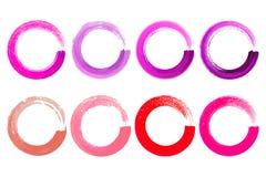 Grupo de textura dos círculos de cor da aquarela Curso redondo da tinta no whi ilustração royalty free