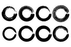 Grupo de textura dos círculos de cor da aquarela Curso redondo da tinta no whi ilustração stock