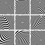 Grupo de texturas da arte op no projeto do teste padrão da zebra. Fotos de Stock