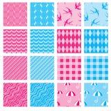 Grupo de texturas da tela em cores cor-de-rosa e azuis ilustração royalty free