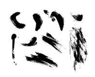 Grupo de texturas da tinta e de cursos tirados mão da escova ilustração do vetor