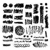 Grupo de texturas da tinta e do carvão vegetal do grunge Coleção dos elementos do projeto do vetor Contextos tirados mão da tinta Imagem de Stock