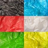 Grupo de texturas dos sacos de plástico Imagens de Stock Royalty Free