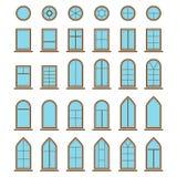Grupo de tipos diferentes da janela e do windowpane dos ícones Imagens de Stock