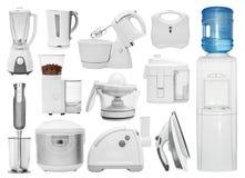Grupo de tipos diferentes de dispositivos de cozinha imagens de stock