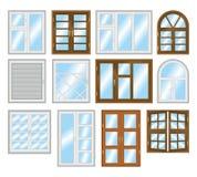 Grupo de tipos diferentes de janelas Fotos de Stock Royalty Free