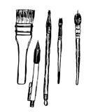 Grupo de tiragem de ferramentas de desenho, de escovas e de lápis, esboço, ilustração desenhado à mão ilustração do vetor
