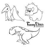 Grupo de tiranossauro amável engraçado do dinossauro dos desenhos animados do ` s de três crianças, pterodátilo, triceratops ilustração do vetor