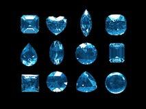Grupo de topacio azul con la trayectoria de recortes Imagen de archivo
