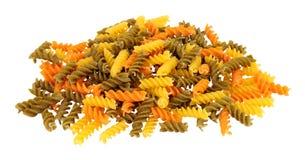 Grupo de torsiones de las pastas de Tricolore Fusilli imagenes de archivo