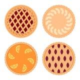 Grupo de tortas do fruto Isolado no fundo branco Imagem de Stock Royalty Free