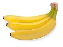 Grupo de três bananas isoladas no branco Fotos de Stock Royalty Free