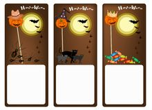 Grupo de três bandeiras da noite de Dia das Bruxas Imagens de Stock