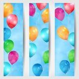 Grupo de três bandeiras da Web com os balões que voam em t Imagem de Stock Royalty Free