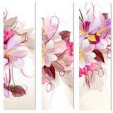 Grupo de três bandeiras florais verticais para seu projeto Fotos de Stock